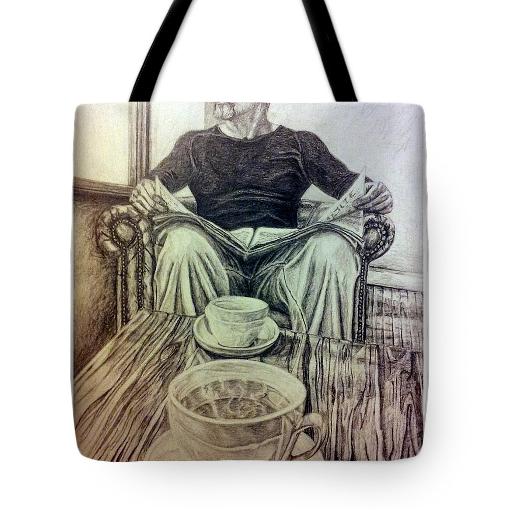 Coffee Tote Bag featuring the drawing Coffee Break by R Muirhead Art