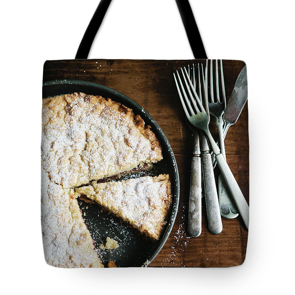 Kitchen Knife Tote Bag featuring the photograph Coffee Cake In Rustic Pan With Forks by Alina Spradley