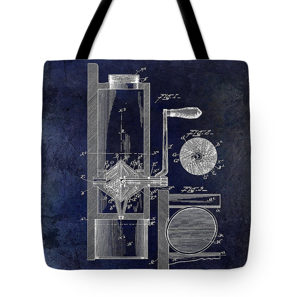 Coffee Mill Patent 1893 Tote Bag featuring the photograph Coffee Mill Patent 1893 Blue by Jon Neidert