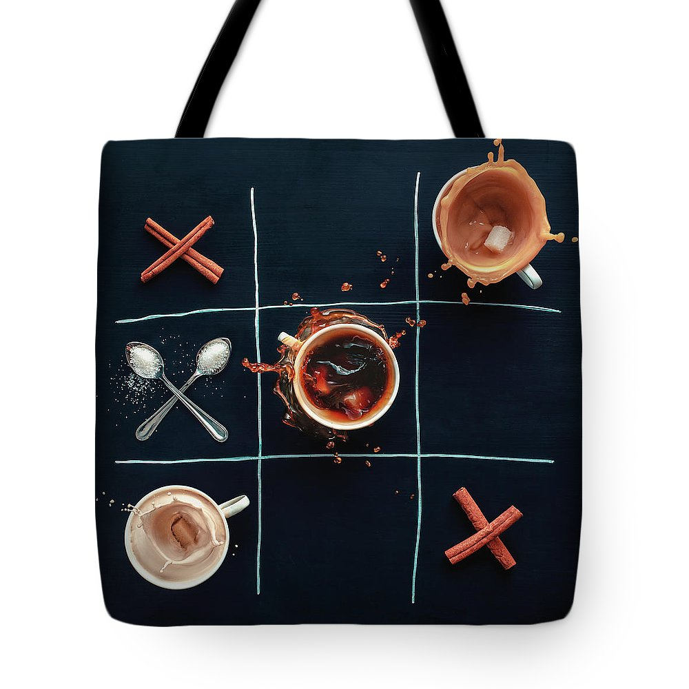 Milk Tote Bag featuring the photograph Coffee Tic-tac-toe by Dina Belenko Photography