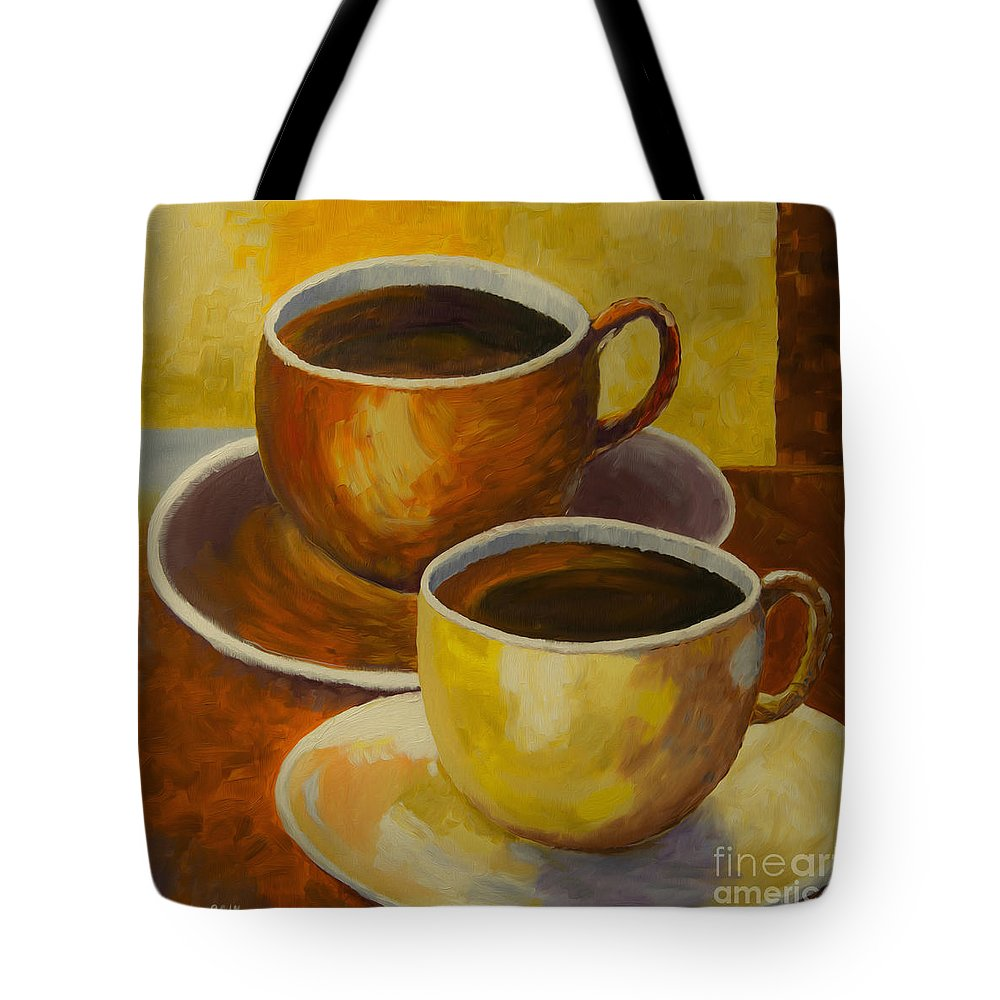 Art Tote Bag featuring the painting Coffee Time by Veikko Suikkanen