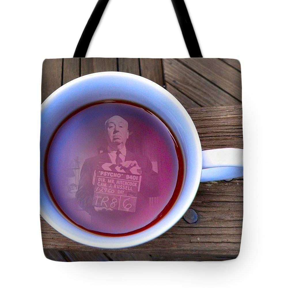 Alfred Hitchcock Tote Bag featuring the photograph Coffee With A Psycho by T Cook