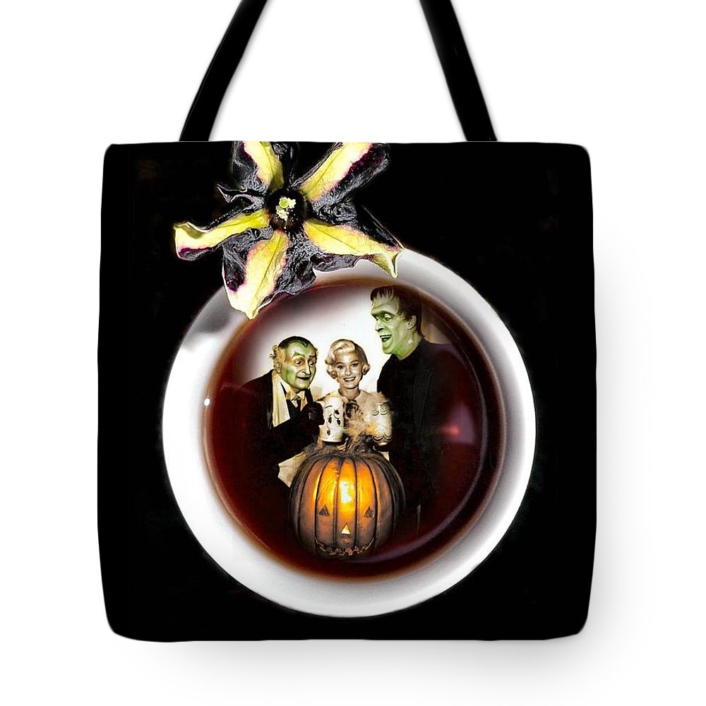 Coffee Tote Bag featuring the digital art Coffee With The Munsters by T Cook