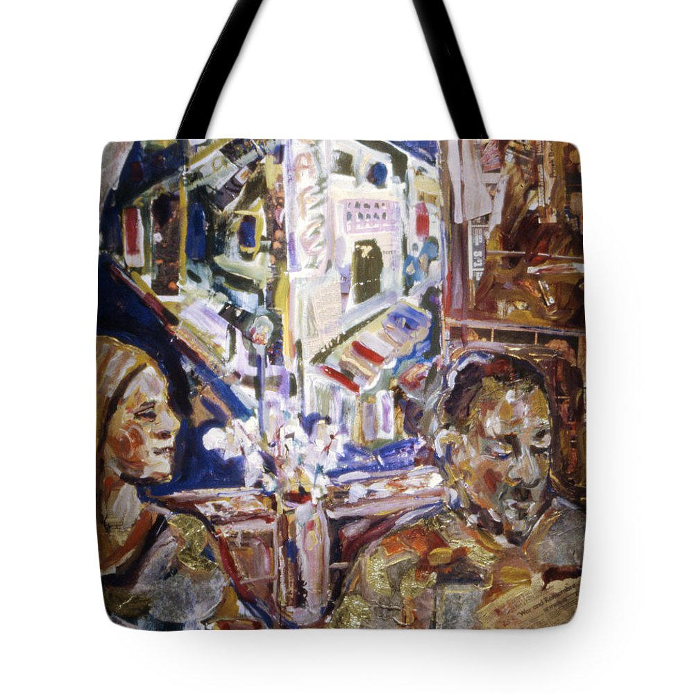 Coffeehouse Tote Bag featuring the painting Coffeehouse Of The Mind by Faye Cummings