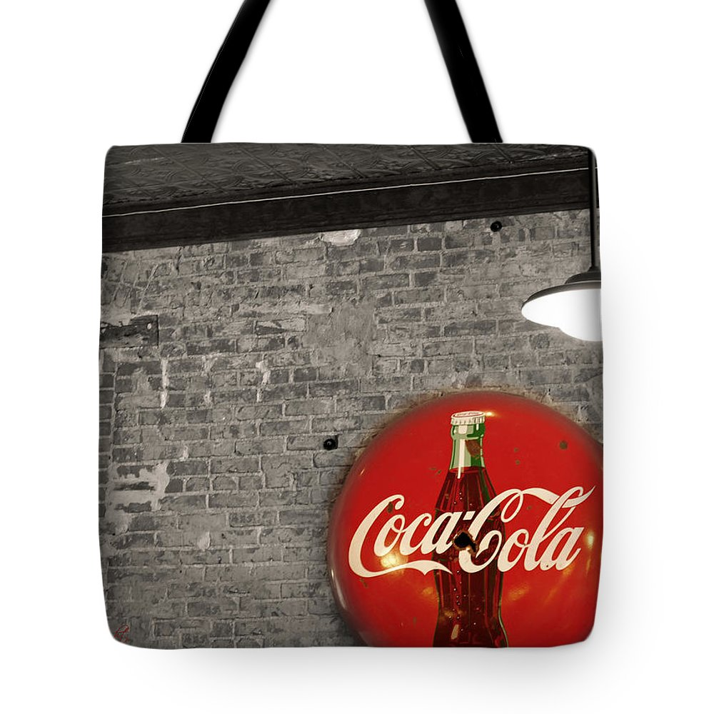 Inside Tote Bag featuring the photograph Coke Cola Sign by Paulette B Wright