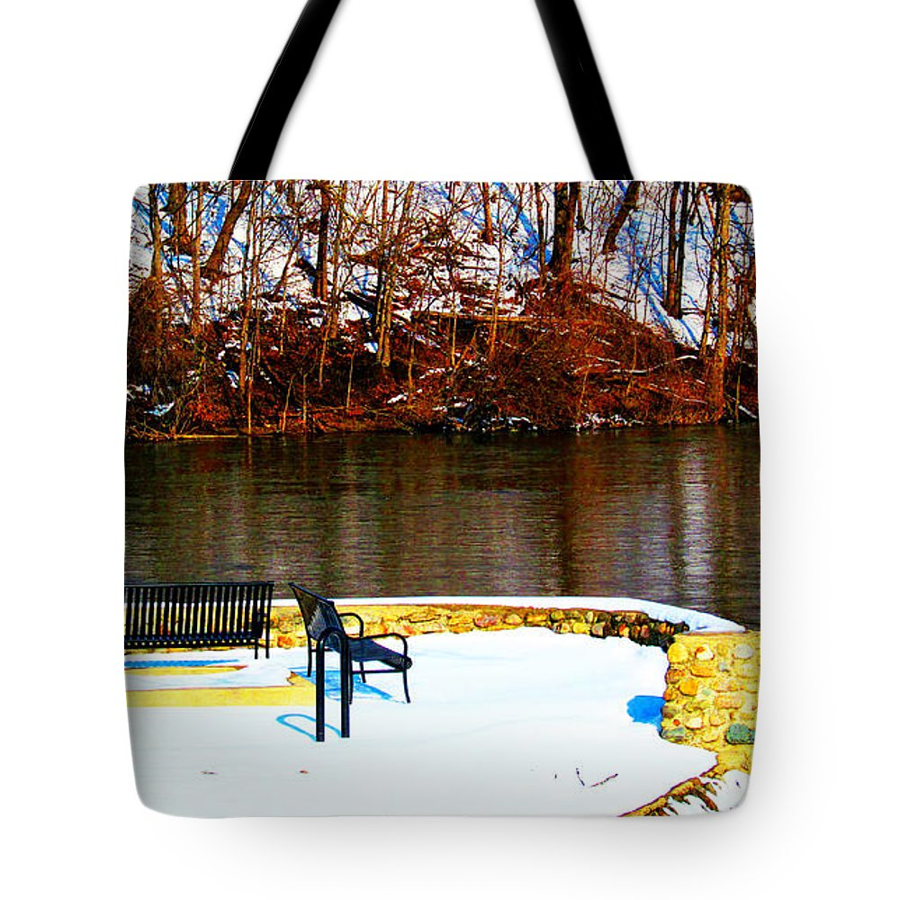 Snow Tote Bag featuring the photograph Cold Benches by Tina M Wenger