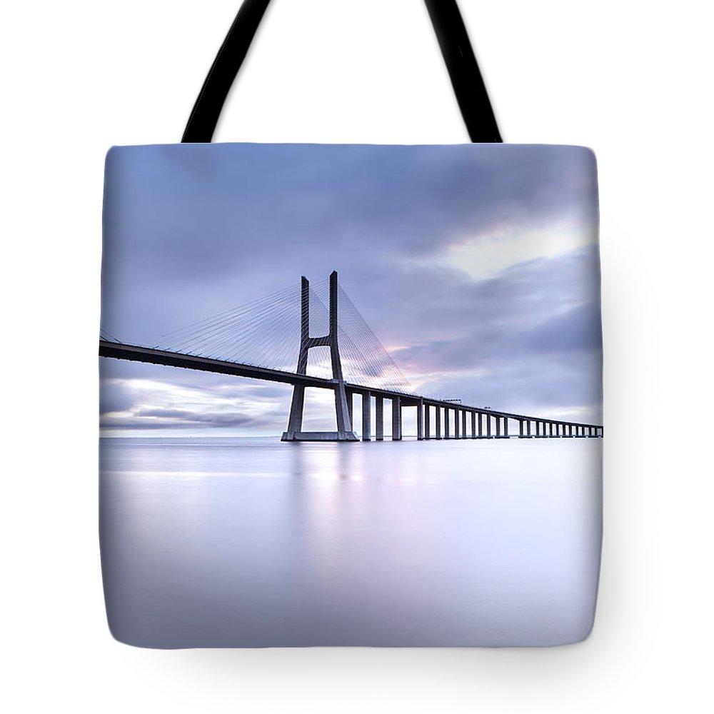 Vasco Da Gama Bridge Photographs Tote Bags