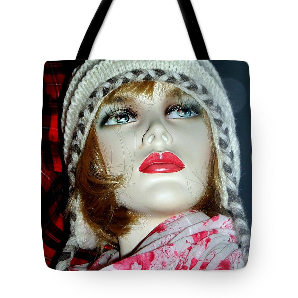 Mannequins Tote Bag featuring the photograph Cold Weather Cutie by Ed Weidman