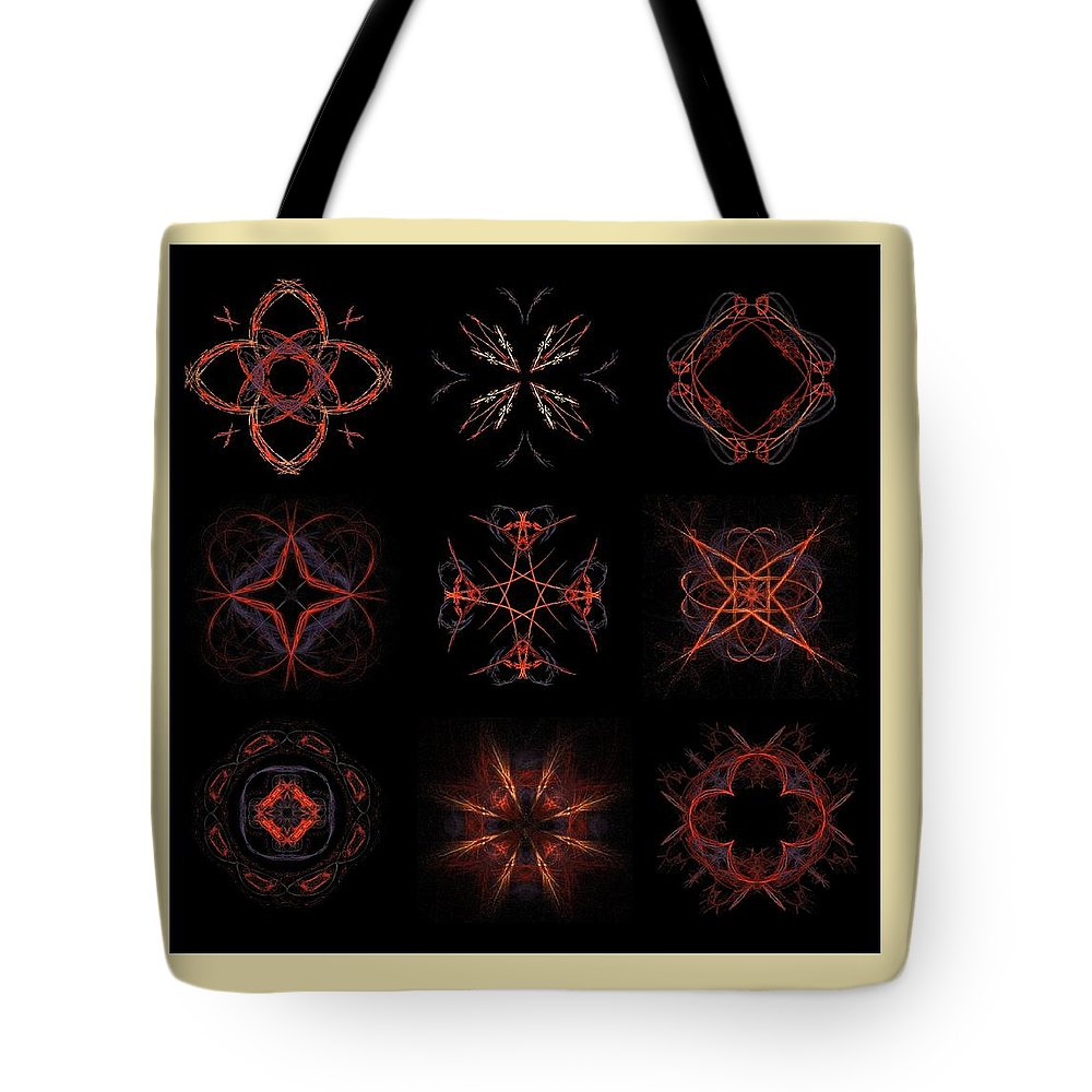 Fractals Tote Bag featuring the painting Collage Of Fractals by Bruce Nutting