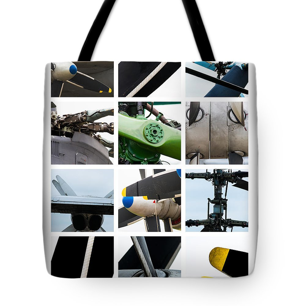 Aerial Tote Bag featuring the photograph Collage Propeller - Featured 2 by Alexander Senin