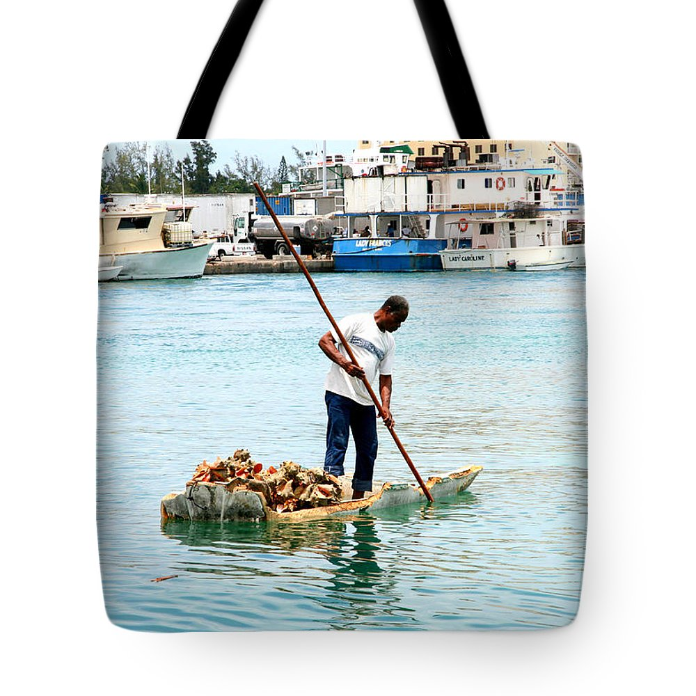 Shell Tote Bag featuring the photograph Collecting Conch by Christine Aylen