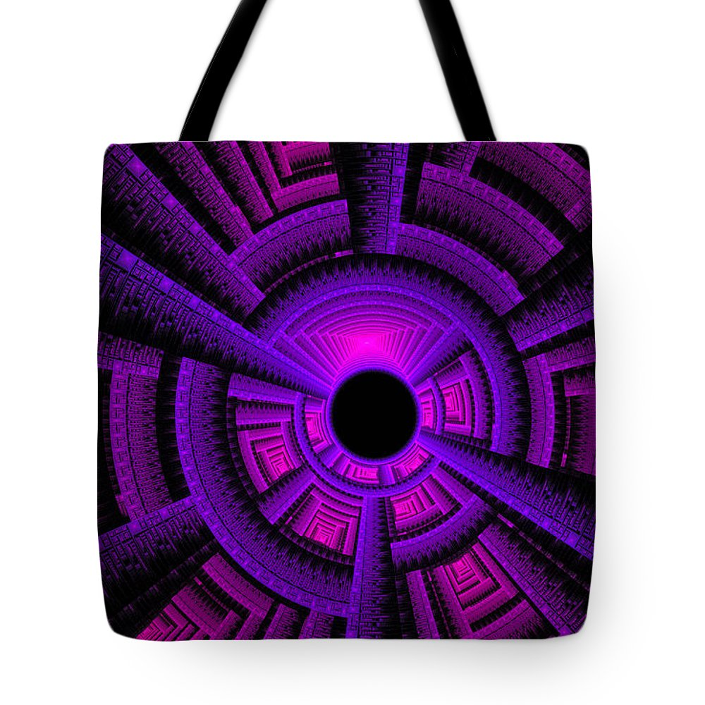 Fractal Tote Bag featuring the digital art Collider by GJ Blackman
