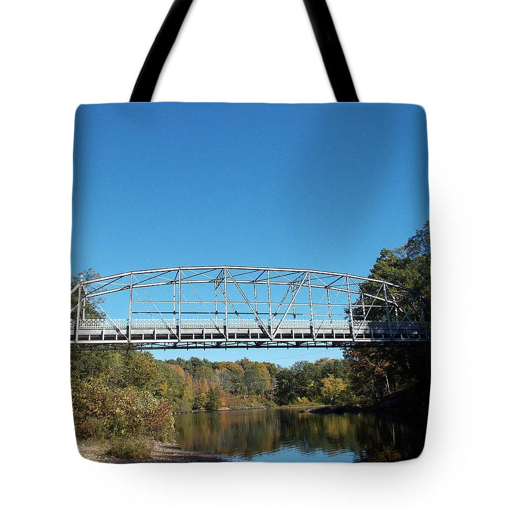 Collinsville Tote Bag featuring the photograph Collinsville Steel Bridge 1 by Nina Kindred