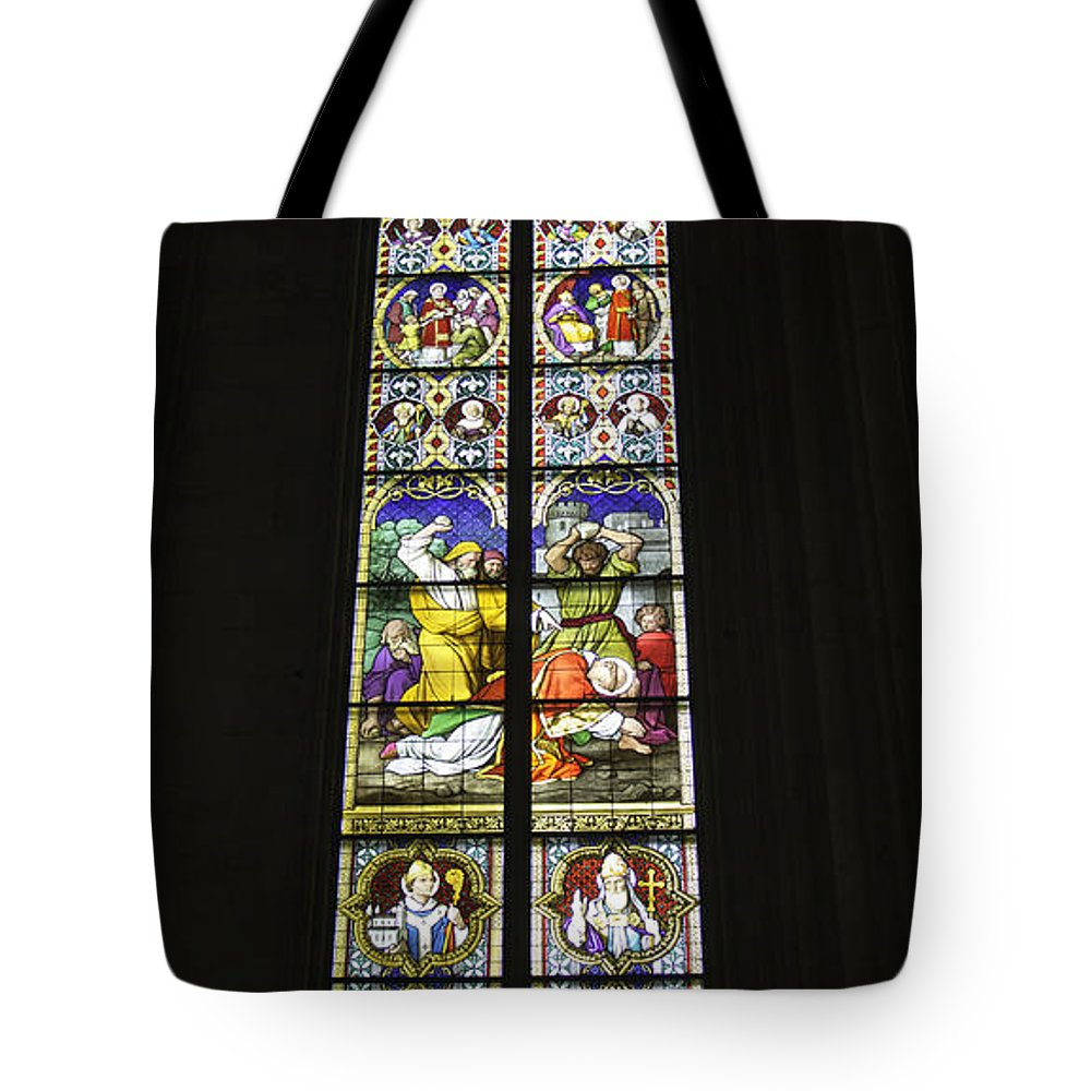 Cologne Cathedral Tote Bag featuring the photograph Cologne Cathedral Stained Glass Window Of St. Stephen by Teresa Mucha