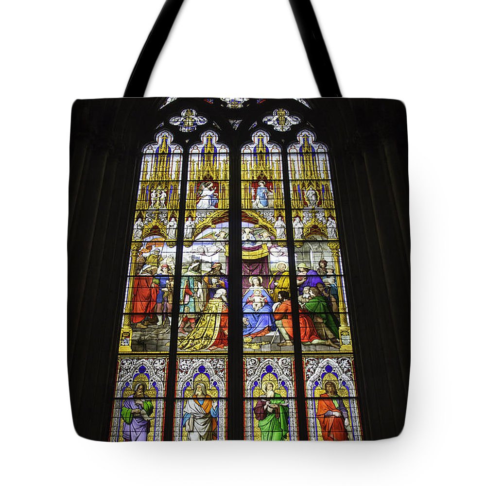 Cologne Cathedral Tote Bag featuring the photograph Cologne Cathedral Stained Glass Window Of The Adoration Of The Magi by Teresa Mucha