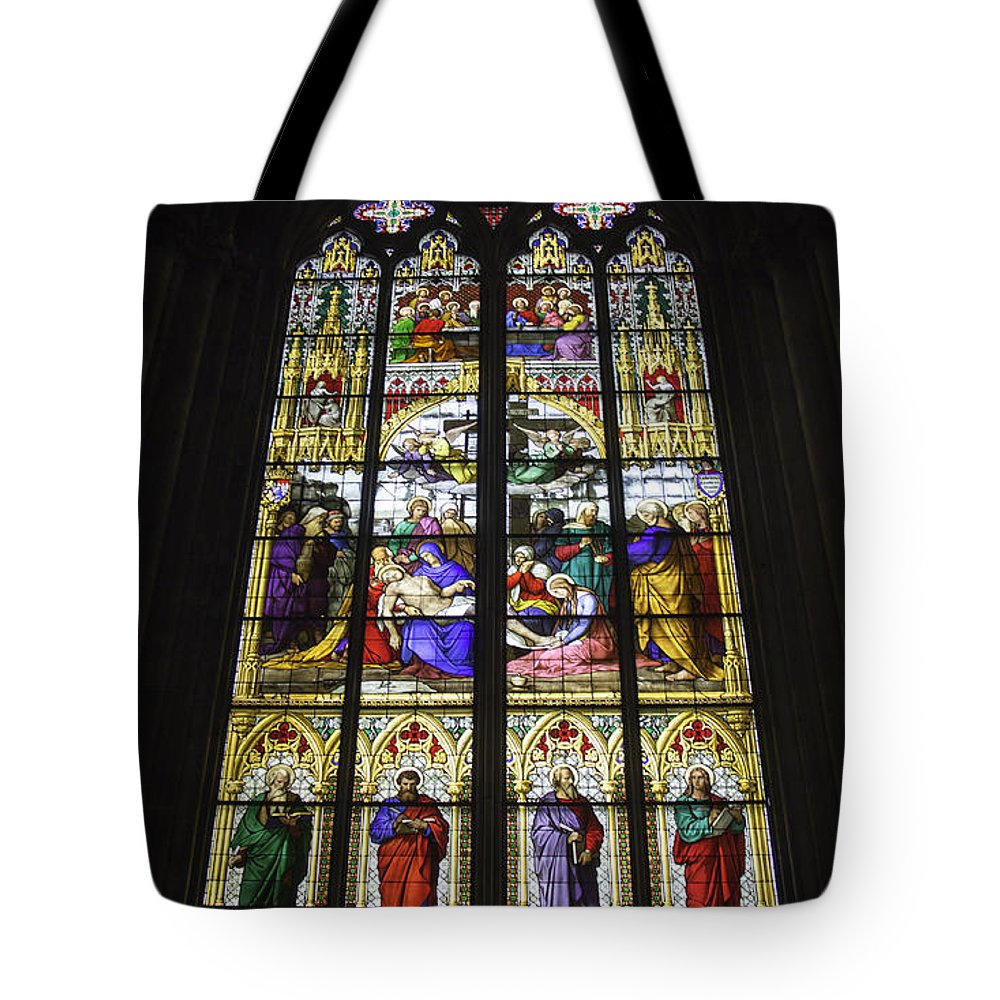 Cologne Cathedral Tote Bag featuring the photograph Cologne Cathedral Stained Glass Window Of The Lamentation by Teresa Mucha