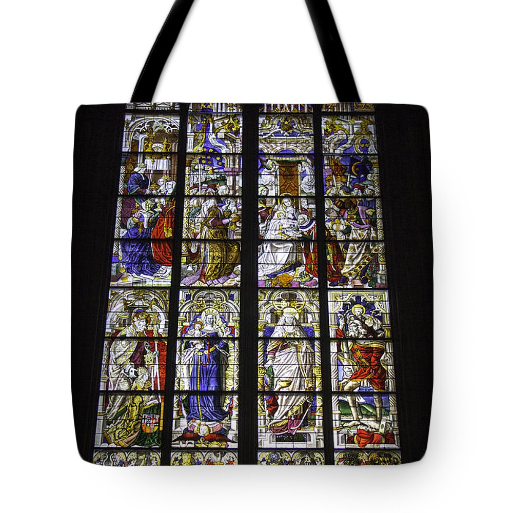 Cologne Cathedral Tote Bag featuring the photograph Cologne Cathedral Stained Glass Window Of The Three Holy Kings by Teresa Mucha
