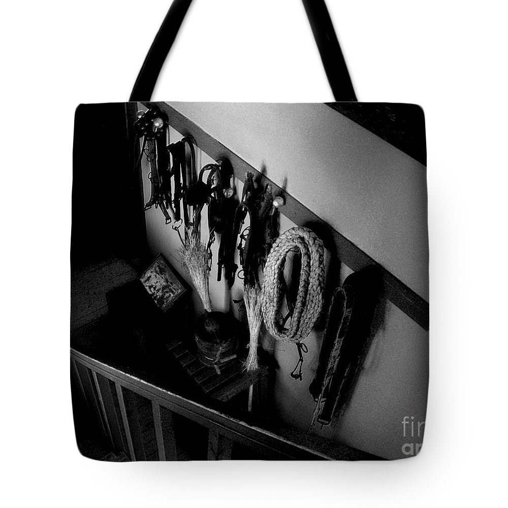 Atmospheric Tote Bag featuring the photograph Colonel Mustard In The Tack Room With The... by RC DeWinter