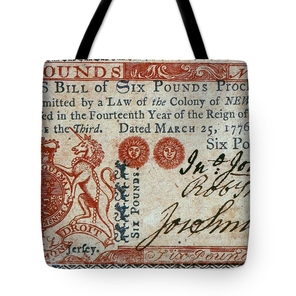 1776 Tote Bag featuring the photograph Colonial Currency, 1776 by Granger