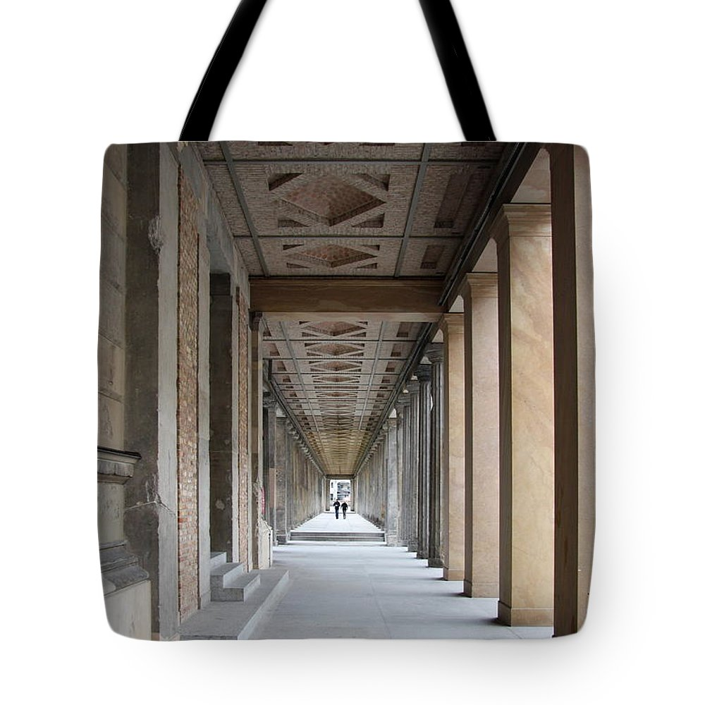 Colonnade Tote Bag featuring the photograph Colonnade Neues Museum Berlin by Christiane Schulze Art And Photography