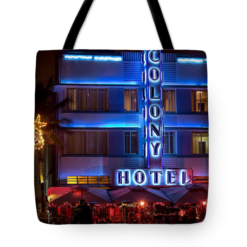 Art Deco Tote Bag featuring the photograph Colony Hotel South Beach by Rene Triay Photography