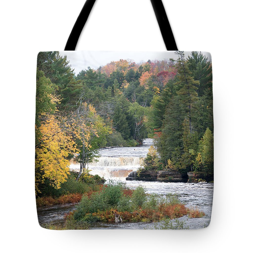 Water Tote Bag featuring the photograph Color At The Falls by Linda Kerkau