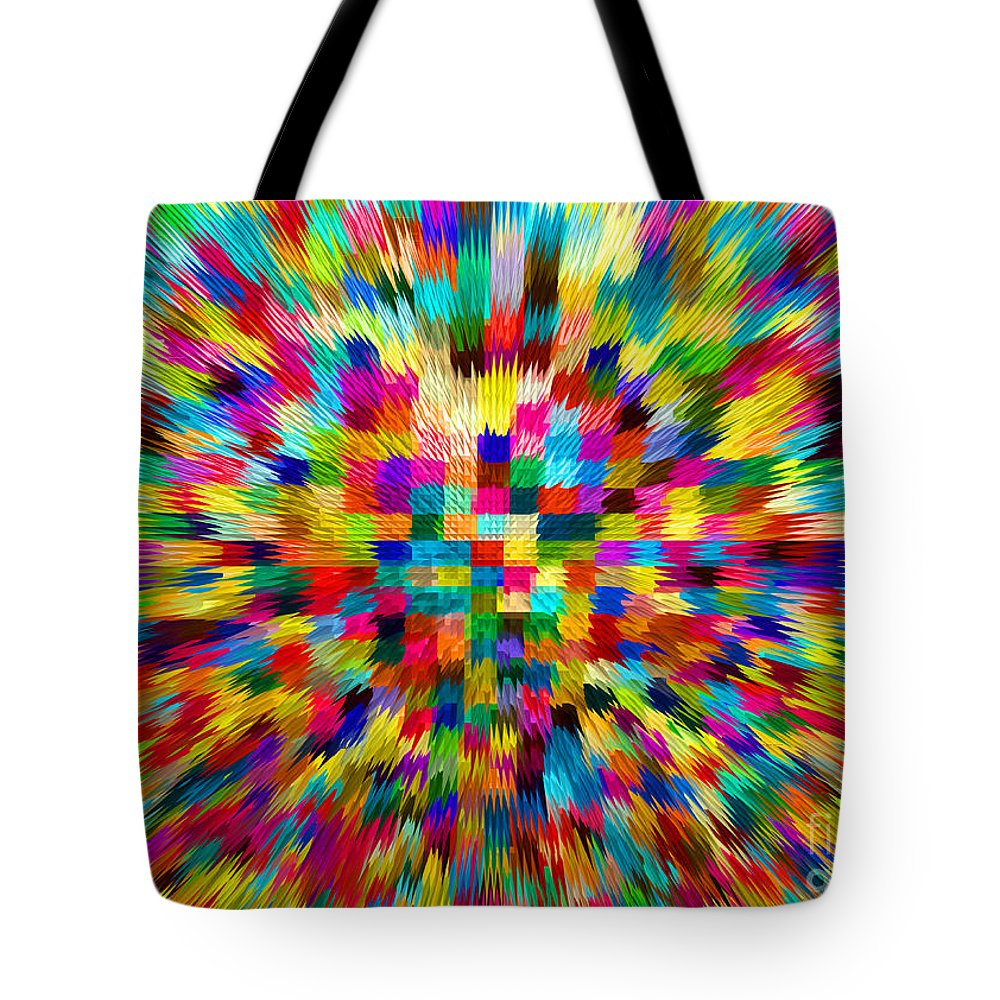 Waves Tote Bag featuring the digital art Color Explosion I by Alys Caviness-Gober