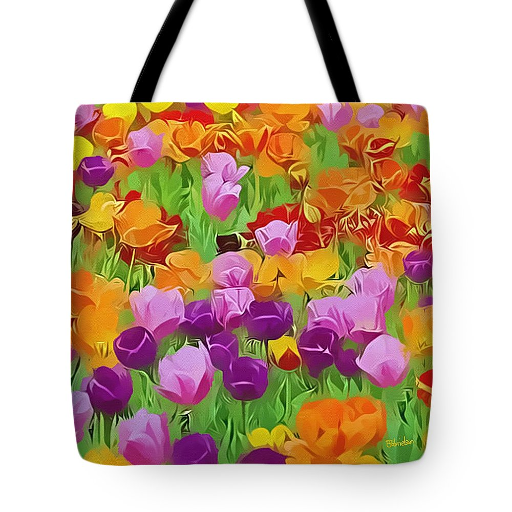 Flowers Tote Bag featuring the digital art Color Field by Peggy Gabrielson