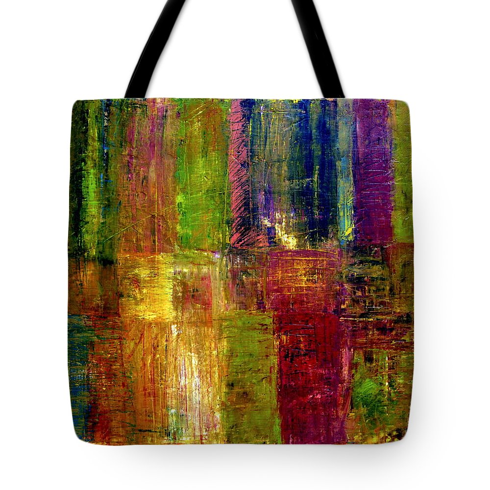 Abstract Tote Bag featuring the painting Color Panel Abstract by Michelle Calkins