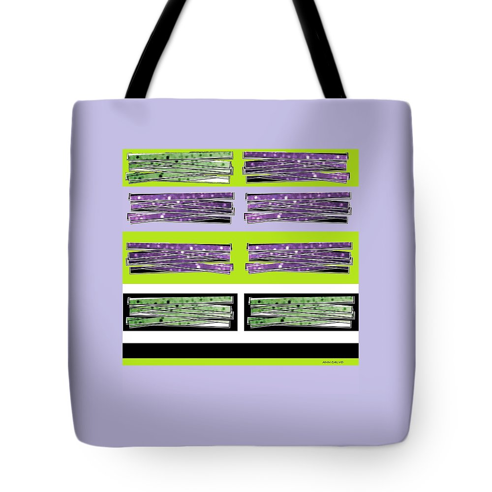 Graphic Art Tote Bag featuring the mixed media Color Stix by Ann Calvo