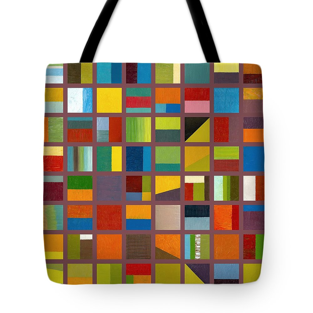 Abstract Tote Bag featuring the painting Color Study Collage 65 by Michelle Calkins