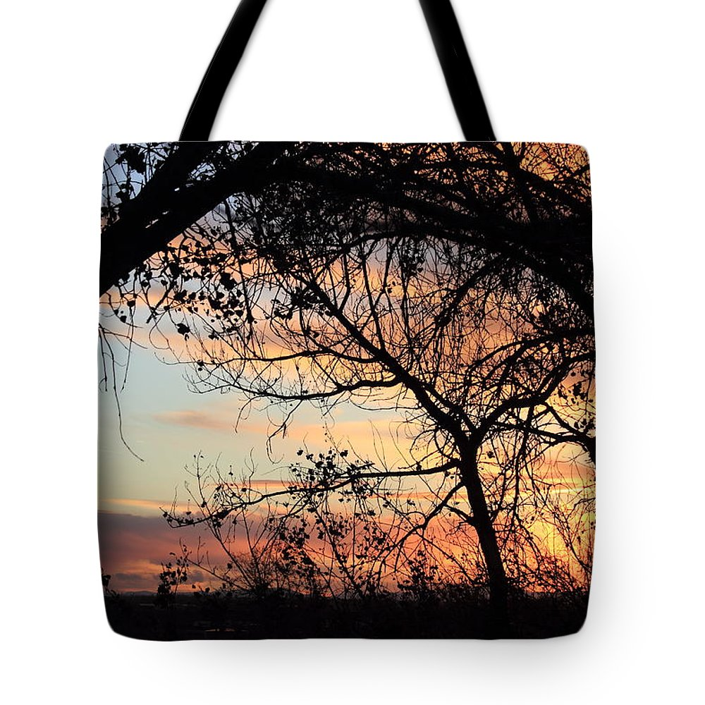 Sunset Tote Bag featuring the photograph Color Through The Trees by Shane Bechler