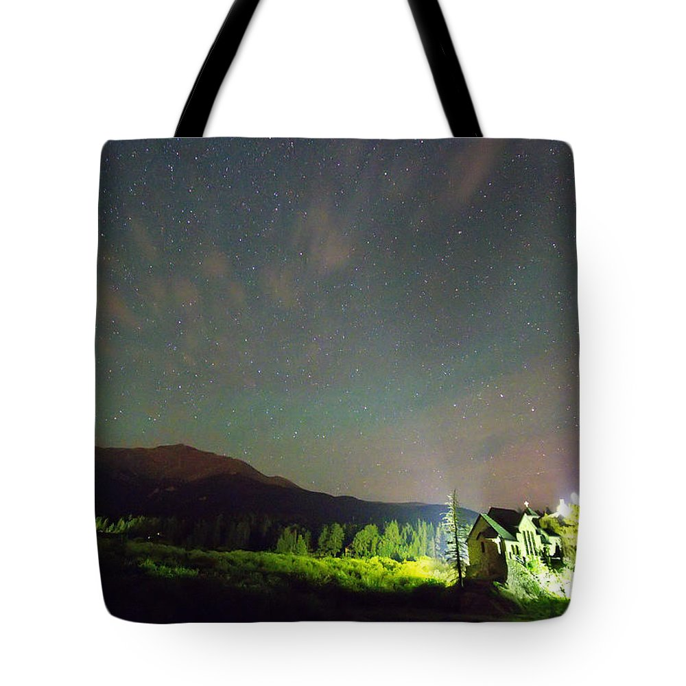 Chapel On The Rock Tote Bag featuring the photograph Colorado Chapel On The Rock Dreamy Night Sky by James BO Insogna