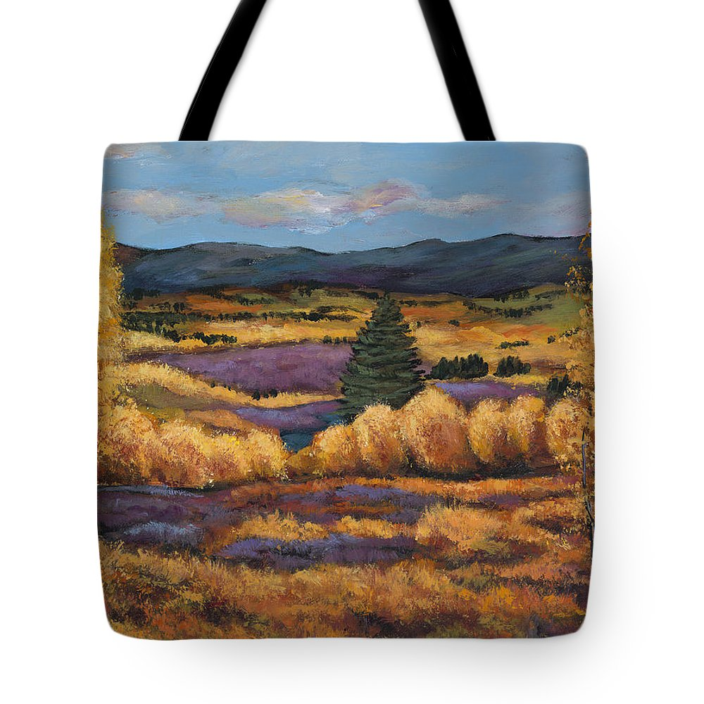 Autumn Aspen Tote Bag featuring the painting Colorado by Johnathan Harris