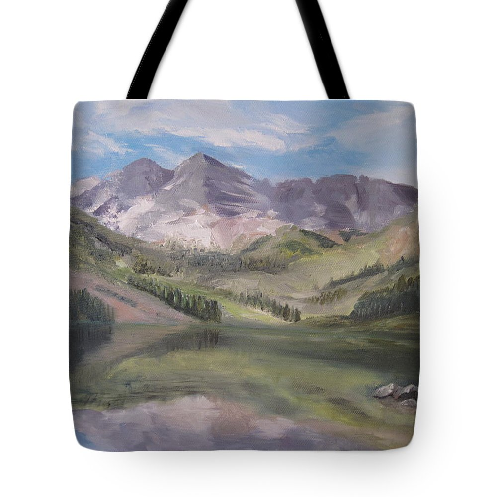 Colorado Mountain Setting With Lake Tote Bag featuring the painting Colorado Reflections by Roberta Rotunda