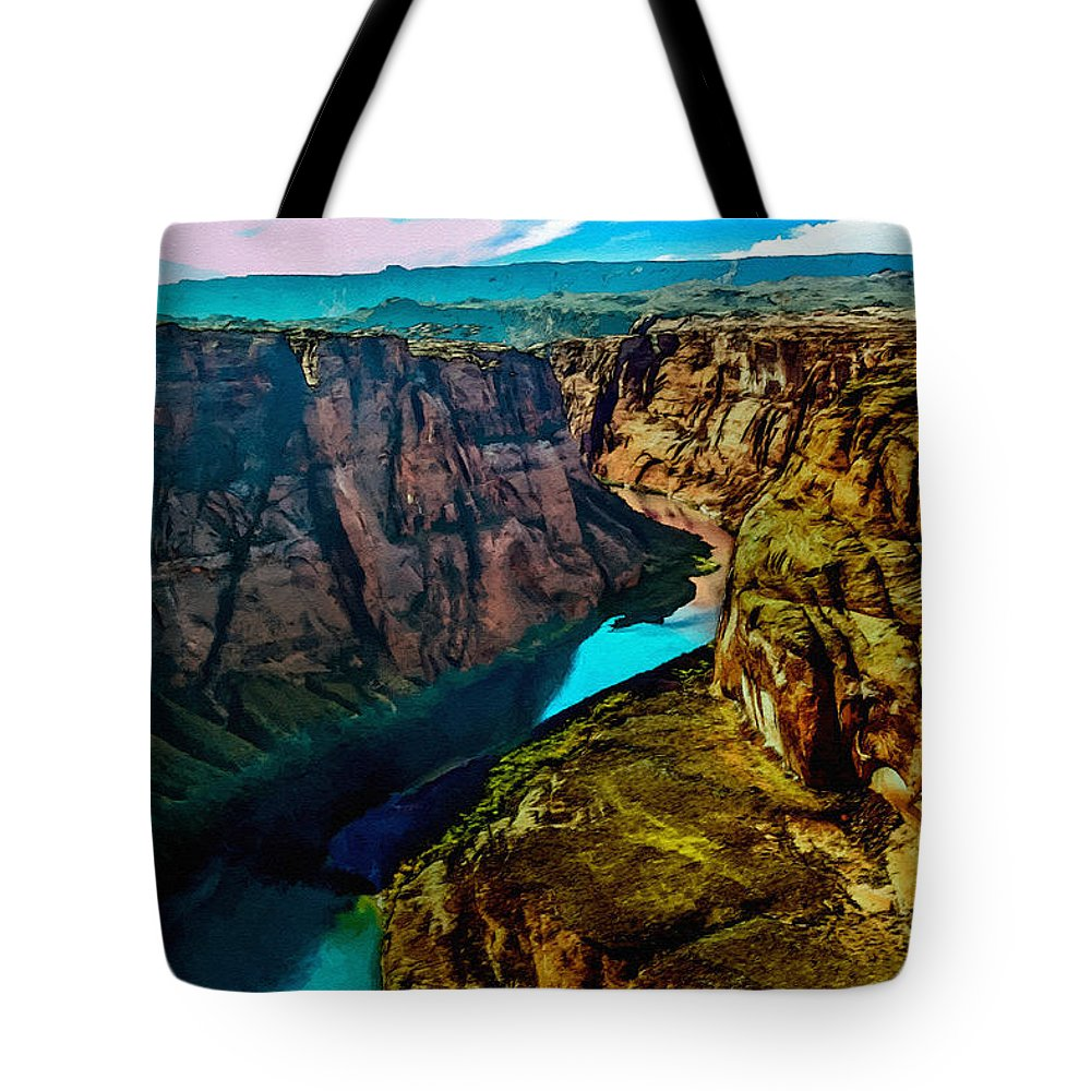 Grand Canyon Tote Bag featuring the painting Colorado River Grand Canyon by Bob and Nadine Johnston