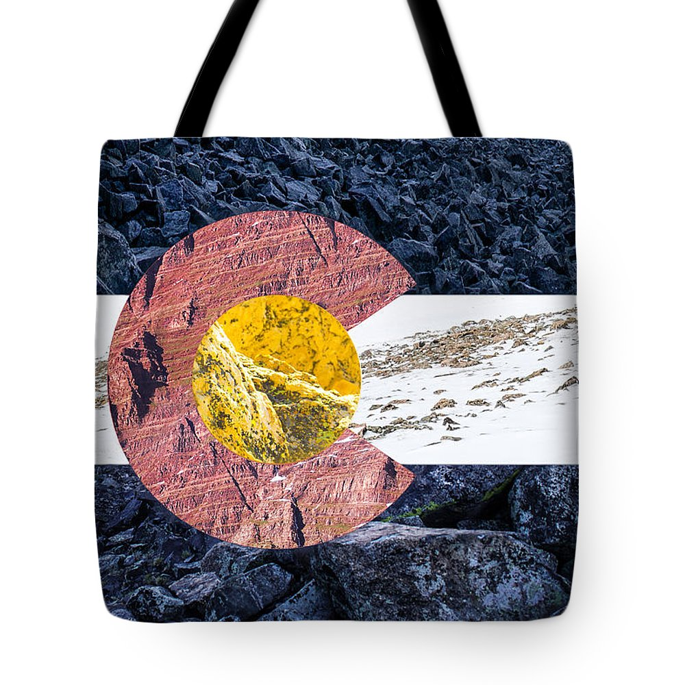 Colorado Tote Bag featuring the photograph Colorado State Flag With Mountain Textures by Aaron Spong