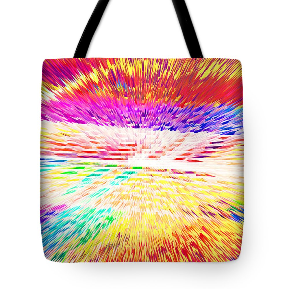 Waves Tote Bag featuring the digital art Colorburst Landscape by Alys Caviness-Gober