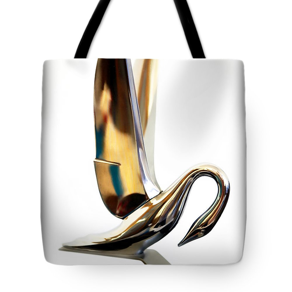1940s 1950s Tote Bag featuring the photograph Colored Packard Hood Ornament by Marilyn Hunt
