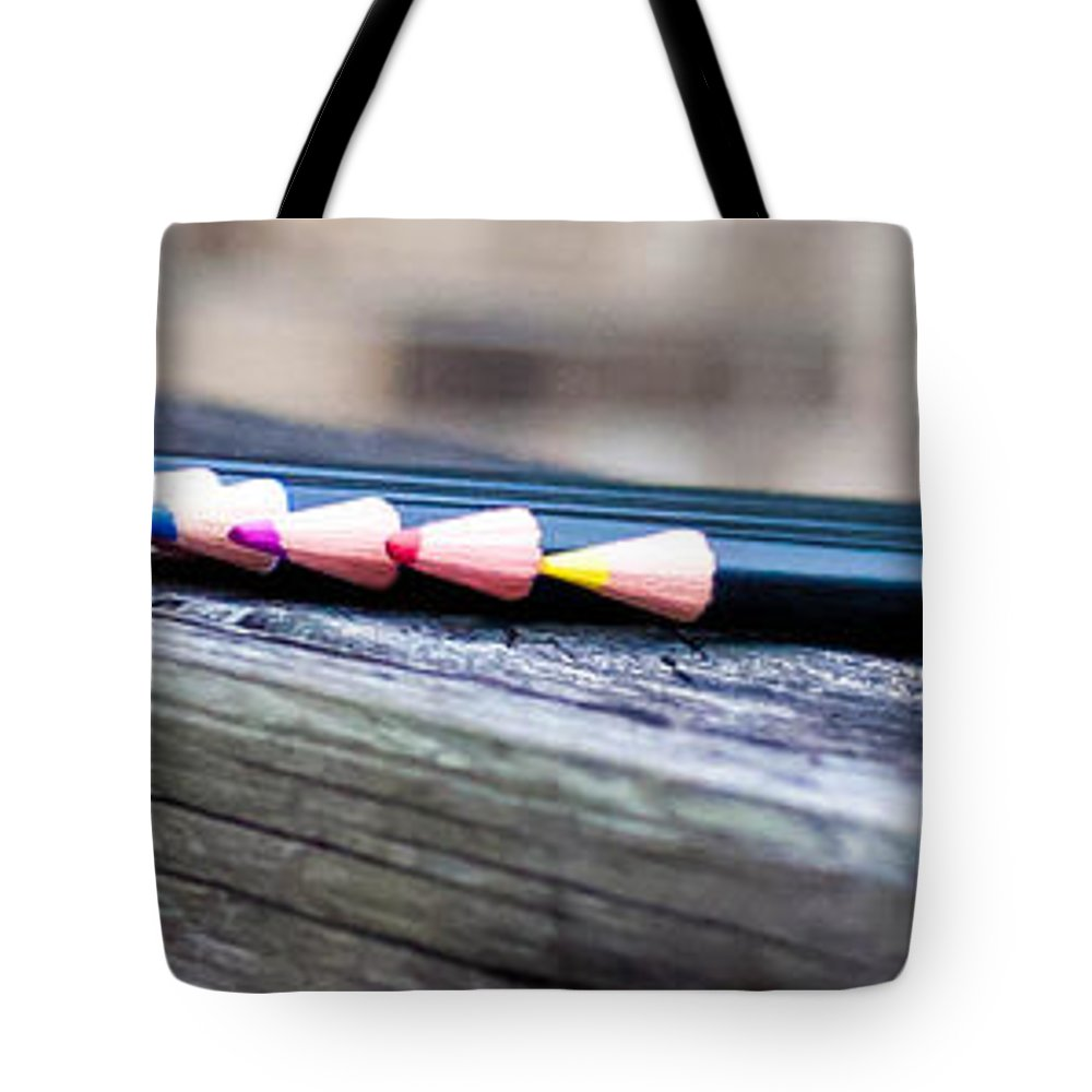 Colored Pencils Tote Bag featuring the photograph Colored Pencils by Mechala Matthews