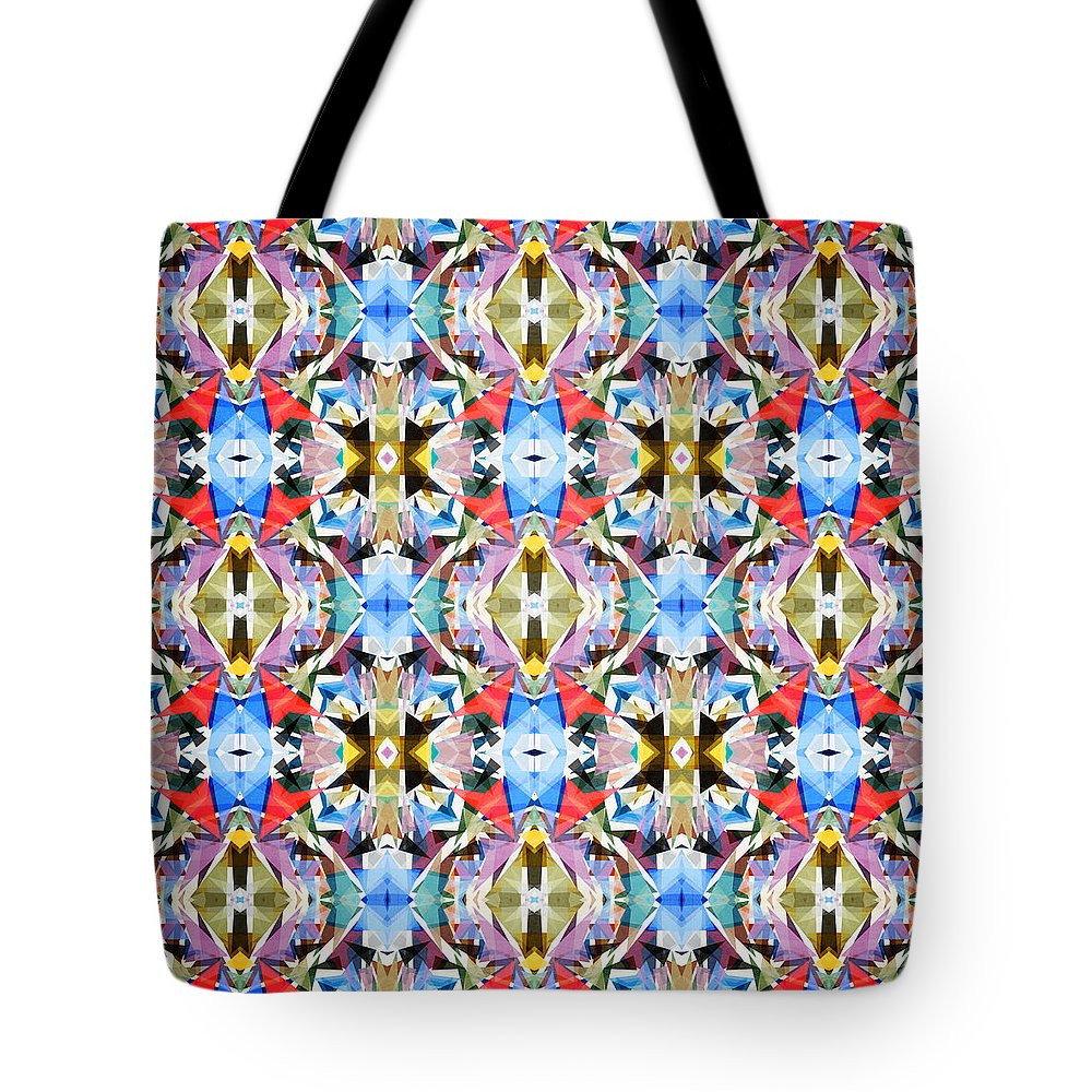 Abstract Tote Bag featuring the digital art Colorful Angles Pattern by Phil Perkins