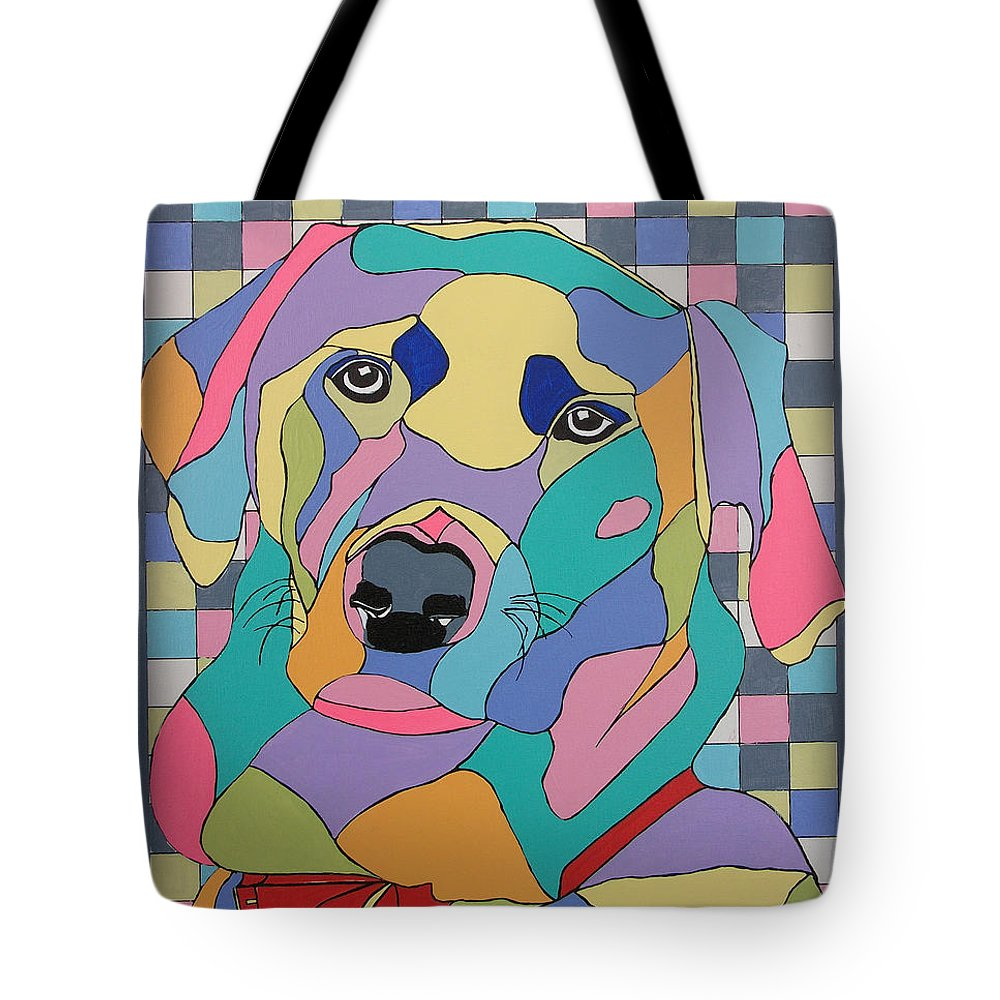 Contemporary Tote Bag featuring the painting Colorful Dog Bear by Inge Lewis