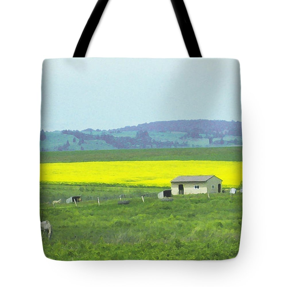 Canola Tote Bag featuring the photograph Colorful Canola Field by Anne Mott