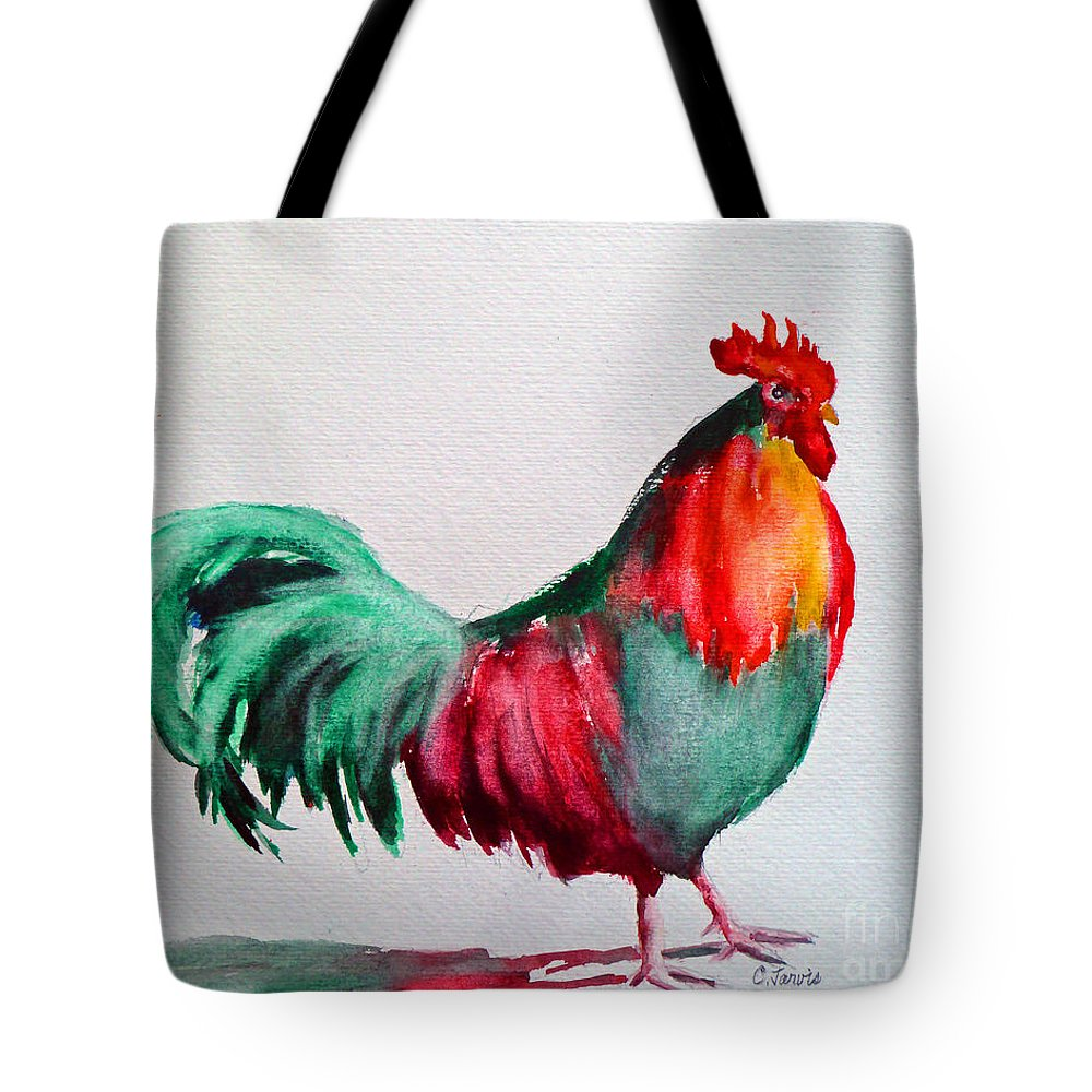 Chicken Tote Bag featuring the painting Colorful Chicken by Carolyn Jarvis