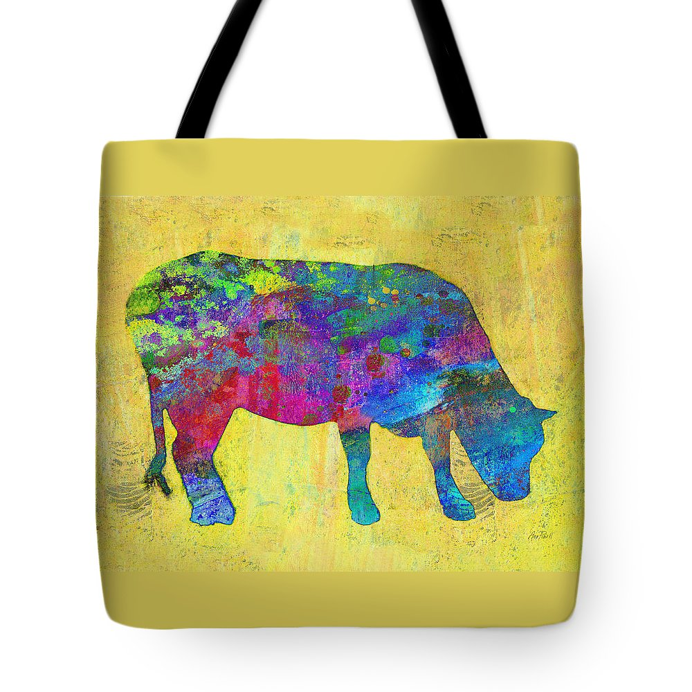 Cow Tote Bag featuring the painting Colorful Cow Abstract Art by Ann Powell