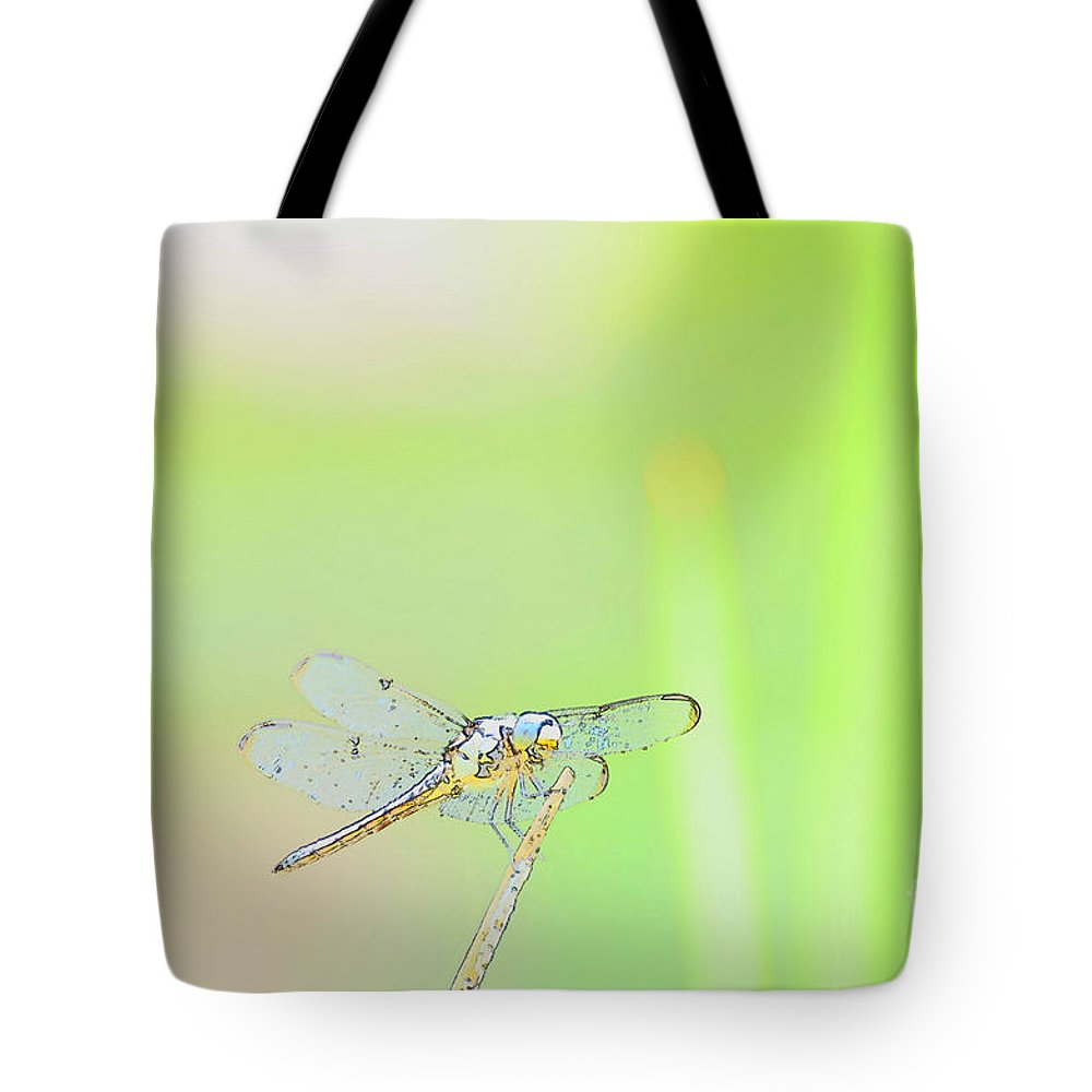 Insect Tote Bag featuring the photograph Colorful Dragonfly by Donna Brown