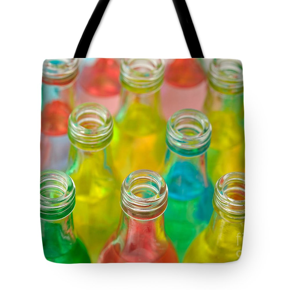 Drink Tote Bag featuring the photograph Colorful Drink Bottles by Grigorios Moraitis