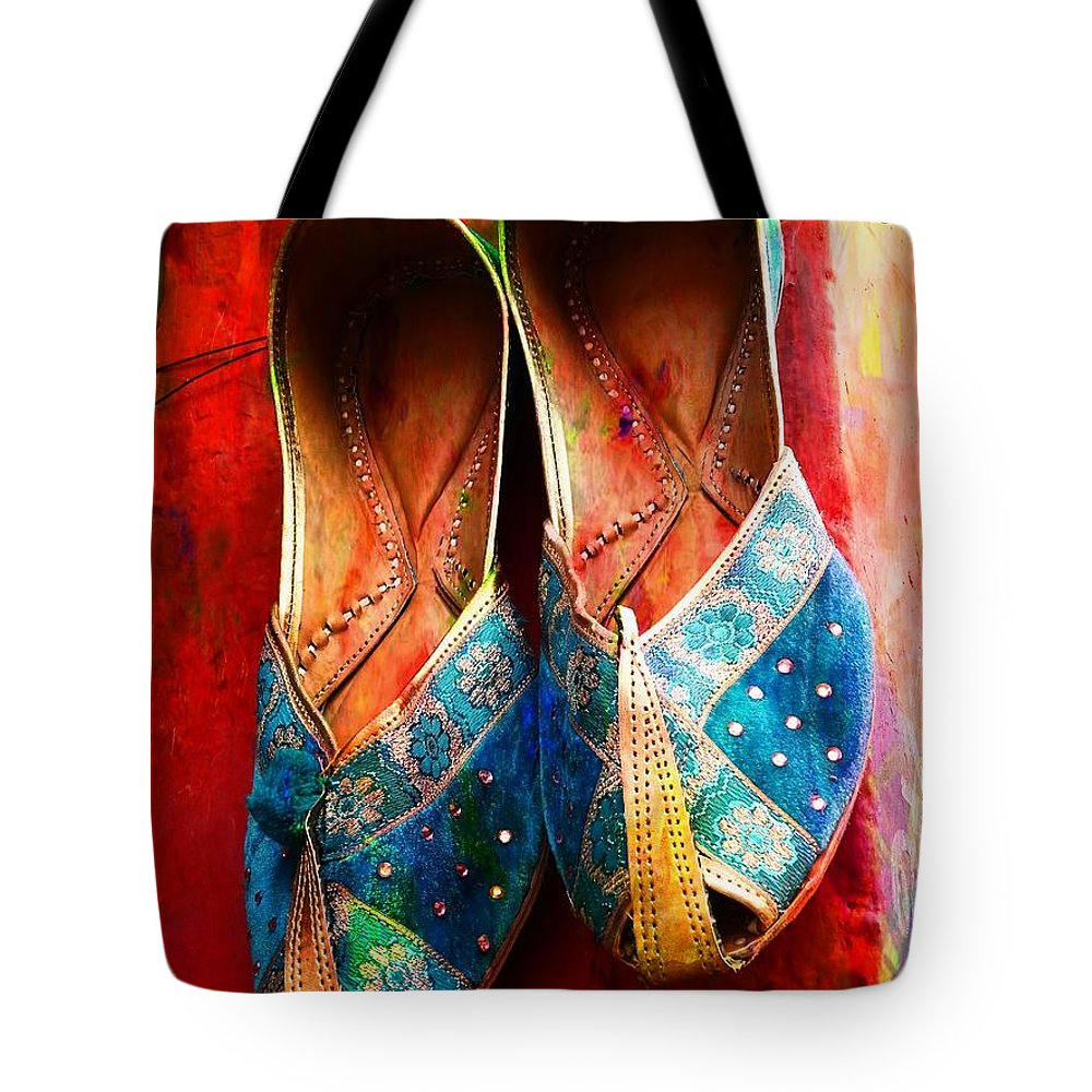 5d03961a8fc4 Colourful Footwear Tote Bag featuring the photograph Colorful Footwear  Juttis Sales Jaipur Rajasthan India by Sue