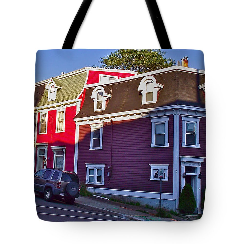 Colorful Homes In Saint John's Tote Bag featuring the photograph Colorful Homes In Saint John's-nl by Ruth Hager