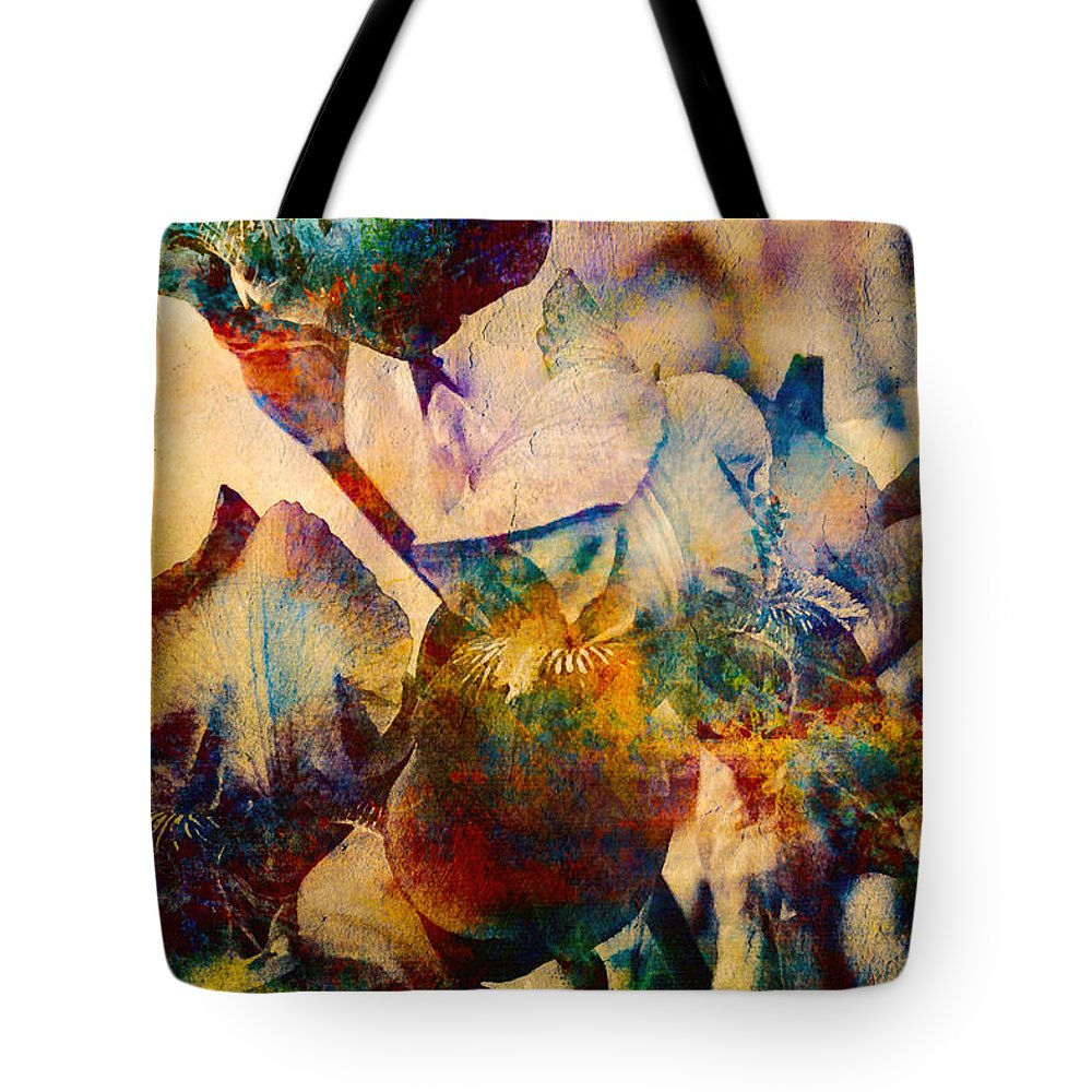 Iris Tote Bag featuring the photograph Colorful Iris Watercolor by Peggy Collins